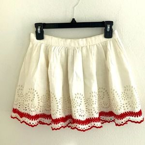Topshop Mini Skirt Ivory/Red Eyelet Size 2
